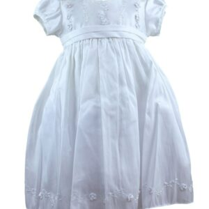 Girls-Christening-Short-White-Raw-Silk-Dress