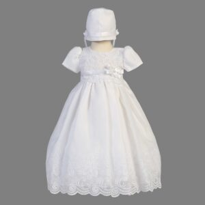 White Embroidered Organza Dress - Candice