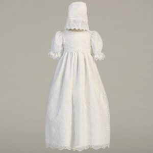 White Embroidered Organza Gown - Emily