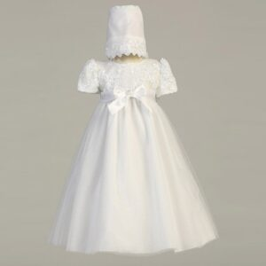 White Tulle Christening Dress - Lillian