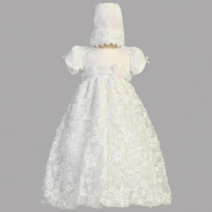 White Embroidered Satin Ribbon Tulle Dress - Amber