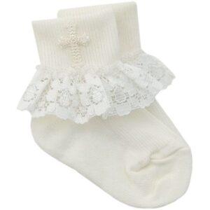 Girls Ivory Christening Cross Socks