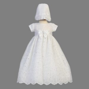 Embroidered Organza Christening Gown - Alexis