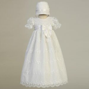 Embroidered Tulle Christening Gown - Camilla