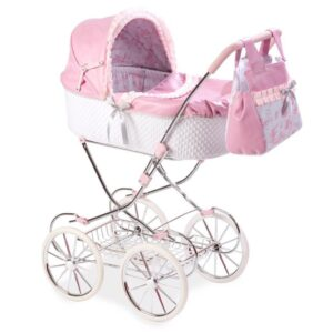 Collapsible Dolls Pram With Bag - Pink