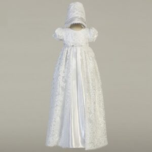 White Satin & Lace Christening Gown - Suzana