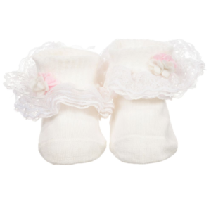 Girls Ivory Lace Cotton Socks
