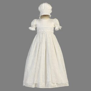 Raw Silk & Lace Heirloom Christening Gown - Christine