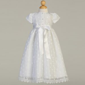 Embroidered Polka-Dot Christening Gown - Coco
