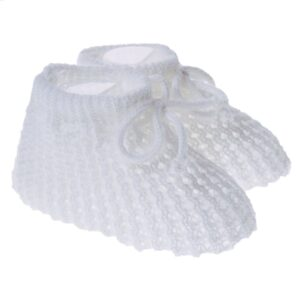 White Knitted Baby Sock Booties
