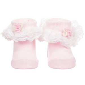Girls Pink Lace Cotton Socks
