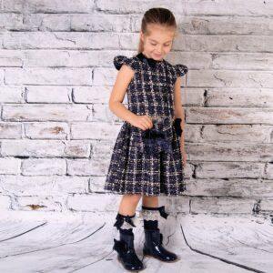 Girls Navy Tweed Dress