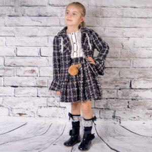 Girls Navy Skirt & Jacket Set