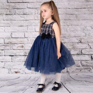 Girls Navy Tulle Dress