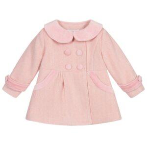 Girls Pink Herringbone Coat