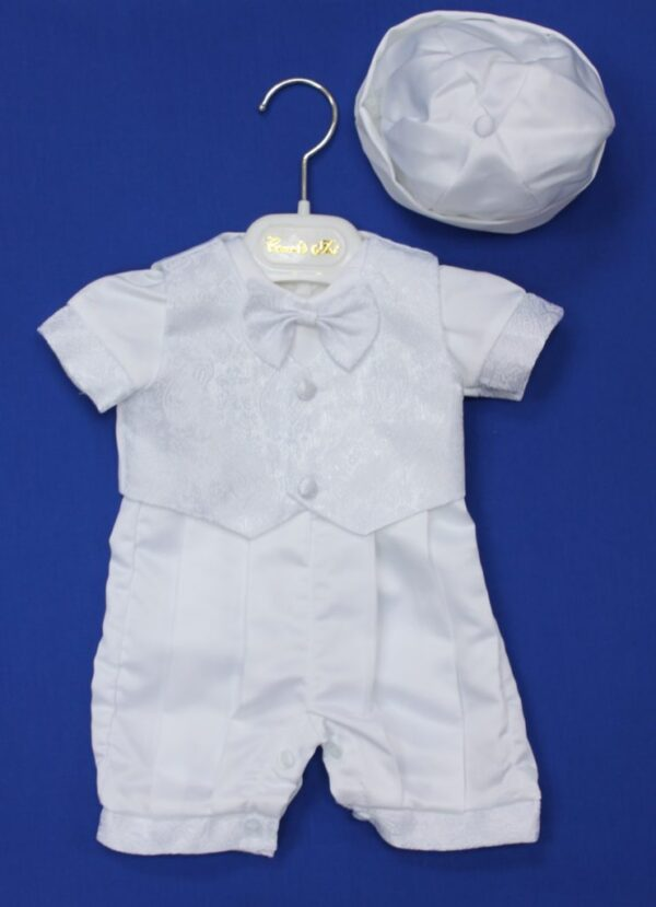 598ff781c WHITE SATIN BOYS CHRISTENING ROMPER SUIT